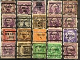 Préoblitérés Etas-Unis Precancel USA (°) 20 Stamps, 228, 230, 233, 241, 242, 244, 256, 292, 303, 313 – 167 - Voorafgestempeld
