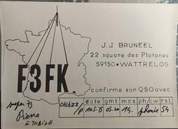 Belgique, Wattrelos  Carte QSL Radio Amateur. - Radio