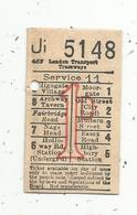 Ticket De Transport, London Transport TRAMWAYS , Service 11 , 1D , 2 Scans - Tram