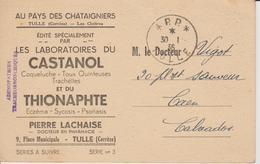Port Paye 1936 Tulle Publicité Médicale Sur CPA - Postmark Collection (Covers)