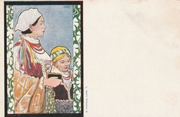 Carte Postale Ancienne Illustrée Par Wilhelm Wachtel - Vers 1900 - Portrait De Femme - Pays De L'Est - Illustrateurs & Photographes
