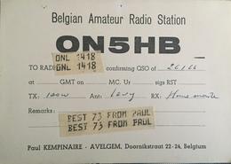Belgique, Avelgem Carte QSL Radio Amateur. - Radio