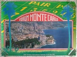 AFFICHE ORIGINALE PUBLICITE FORUM MONTE CARLO IBM 1984 PLAQUE DE RALLYE Montage Photo Et Dessin - Habillement, Souvenirs & Autres