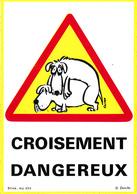 Thematiques Bande Déssinée CP Auto Collant Croisement Dangereux Panneaux Code De La Route - Bandes Dessinées