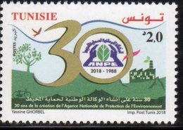 TUNISIA, 2018, MNH, ENVIRONMENT PROTECTION AGENCY, TREES, BIRDS, INDUSTRY,  1v - Protection De L'environnement & Climat
