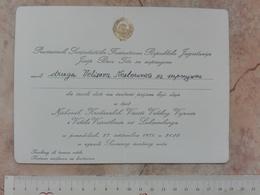 1970 PRESIDENT YUGOSLAVIA JOSIP BROZ TITO INVITATION CARD REPUBLIC DAY GALA RECEPTION IN FEDERAL COUNCIL BUILDING SFRJ - Faire-part