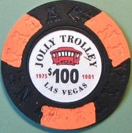 $100 Fantasy Casino Chip. Jolly Trolley, Las Vegas, NV. N10. - Casino