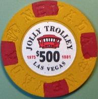 $500 Fantasy Casino Chip. Jolly Trolley, Las Vegas, NV. N10. - Casino