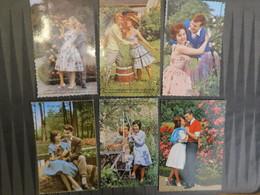 TI  - Lot De 26 Cartes  Fantaisie - Couples - Carte En Grande Partie Dentelée. - Couples