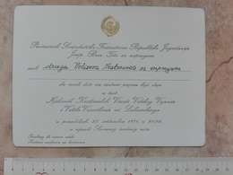 1971 PRESIDENT YUGOSLAVIA JOSIP BROZ TITO INVITATION CARD Jean Grand Duke Luxembourg Joséphine Charlotte Of Belgium - Announcements