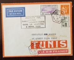 FRANCE Yvert N° 166+164 Orphelins. Premier Vol PARIS ALGER AJACTION TUNIS Dans La Journée 2 Avril 1935. - Marcophilie (Lettres)