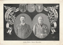 CARTOLINA VIAGGIATA (FRANCOBOLLO SCIUPATO) HITLER MUSSOLINI (LK206 - Patriottiche