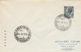 LETTERA 1956 CON 5 L. ITALIA TURRITA TIMBRO CONCORSO POLIFONICO (LK738 - 1946-.. République