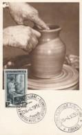 CARTOLINA CON L.5 ITALIA AL LAVORO-TIPO MAXIMUM -1956 MOSTRA ARTIGIANATO (LK849 - 1946-.. République