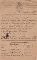 CORRISPONDENZA PRIGIONIERI DI GUERRA DA BANGALORE INDIA-VATICANO PER FIRENZE (LK879 - 1900-44 Vittorio Emanuele III