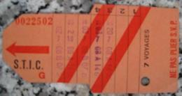 Carte Ticket De Transport Bus Tram S.T.I.C 7 Voyages - Bus