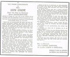 Brugge: 1960, Leon Lenoir; Omgekomen In Luchtramp Te Sake-Masisi - Kongo ( 2 Scans) - Devotion Images