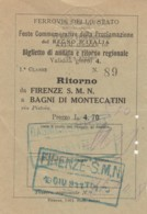 1911 FIRENZE BAGNI MONTECATINI FESTE REGNO ITALIA BIGLIETTO FERROVIARIO (FX131 - Bahn
