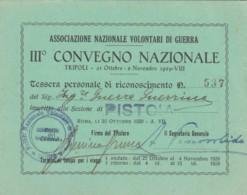 1929 ASS.NAZIONALE VOLONTARI DI GUERRA CONVEGNO TESSERA (FX181 - Documenti Storici