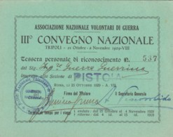1929 ASS.NAZIONALE VOLONTARI DI GUERRA CONVEGNO TESSERA (FX181 - Documentos Históricos