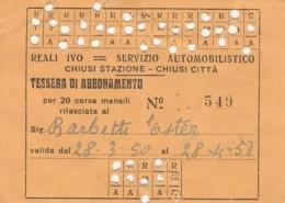 ABBONAMENTO CHIUSI BIGLIETTO AUTOLINEE (FX550 - Bus