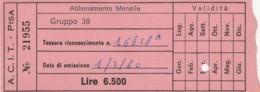 ACIT PISA - 1980 ABBONAMENTO (FX349 - Abonnements Hebdomadaires & Mensuels