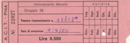 ACIT PISA - 1980 ABBONAMENTO (FX364 - Abonnements Hebdomadaires & Mensuels