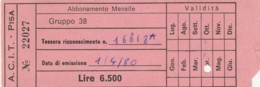 ACIT PISA - 1980 ABBONAMENTO (FX364 - Europa