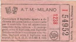 ATM MILANO 50 CENT BIGLIETTO AUTOBUS (FX335 - Europa
