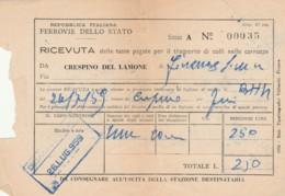 TASSE TRASPORTO COLLI FERROVIE 1959-PIEGA CENTRALE RICEVUTA (FX15 - Treni