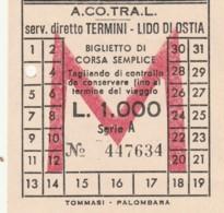 TERMINI LIDO OSTIA ACOTRAL L.1000 BIGLIETTO AUTOLINEE (FX394 - Autobus