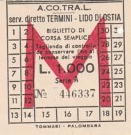 TERMINI LIDO OSTIA ACOTRAL L.1000 BIGLIETTO AUTOLINEE (FX396 - Autobus