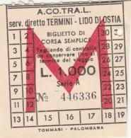 TERMINI LIDO OSTIA ACOTRAL L.1000 BIGLIETTO AUTOLINEE (FX397 - Autobus