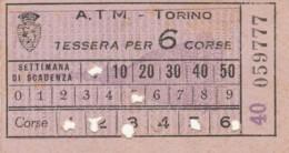 TESSERA PER 6 CORSE TORINO BIGLIETTO AUTOBUS (FX378 - Autobus
