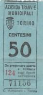 TORINO 50 CENT. BIGLIETTO AUTOBUS (FX317 - Autobus