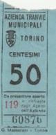 TORINO 50 CENT. BIGLIETTO AUTOBUS (FX329 - Autobus