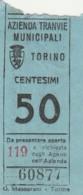 TORINO 50 CENT. BIGLIETTO AUTOBUS (FX330 - Autobus