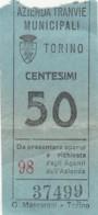 TORINO 50 CENT. BIGLIETTO AUTOBUS (FX339 - Bus