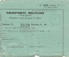 TRASPORTI MILITARI (NON PERFETTO) BIGLIETTO FERROVIARIO (FX99 - Treni