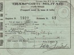 TRASPORTI MILITARI (STRAPPO AL CENTRO) BIGLIETTO FERROVIARIO (FX98 - Treni