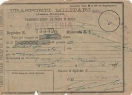 TRASPORTI MILITARI 1919-SEGNI DEL TEMPO BIGLIETTO FERROVIARIO (FX12 - Treni