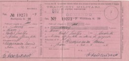 TRASPORTI MILITARI 1945 BIGLIETTO FERROVIARIO (FX103 - Treni