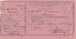 TRASPORTI MILITARI 1946 BIGLIETTO FERROVIARIO (FX33 - Treni