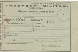 TRASPORTI MILITARI-NUOVO BIGLIETTO FERROVIARIO (FX104 - Treni