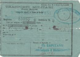 TRASPORTI MILITARI PRIMI 900-SEGNI DEL TEMPO BIGLIETTO FERROVIARIO (FX11 - Treni