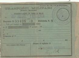 TRASPORTI MILITARI PRIMI 900-SEGNI DEL TEMPO BIGLIETTO FERROVIARIO (FX124 - Treni