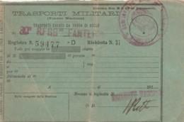 TRASPORTI MILITARI PRIMI 900-SEGNI DEL TEMPO BIGLIETTO FERROVIARIO (FX125 - Treni