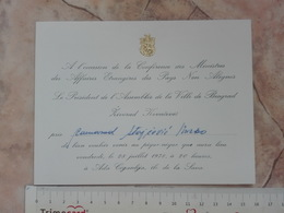 1978 Non Aligned Movement NAM YUGOSLAVIA INVITATION CARD Ministres Des Affaires étrangères Foreign Ministers NON ALIGNES - Announcements
