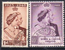 Turks & Caicos Islands GVI 1948 Royal Silver Wedding RSW Set Of 2, Used, SG 208/9 - Turks And Caicos