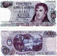 ARGENTINA 10 PESOS 1973-76 FDS UNC BELGRANO - Argentina